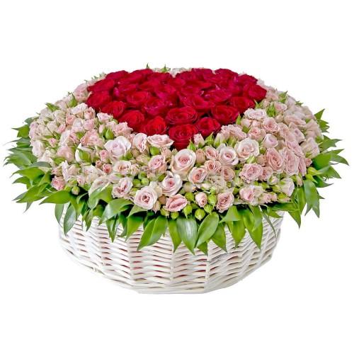 Купить на заказ Корзина с цветами 9 с доставкой в Нур-Султане