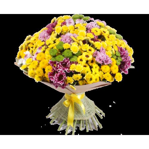 Купить на заказ Букет из 101 хризантемы с доставкой в Нур-Султане