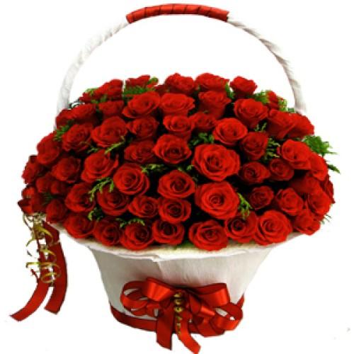 Купить на заказ Корзина с цветами 8 с доставкой в Нур-Султане