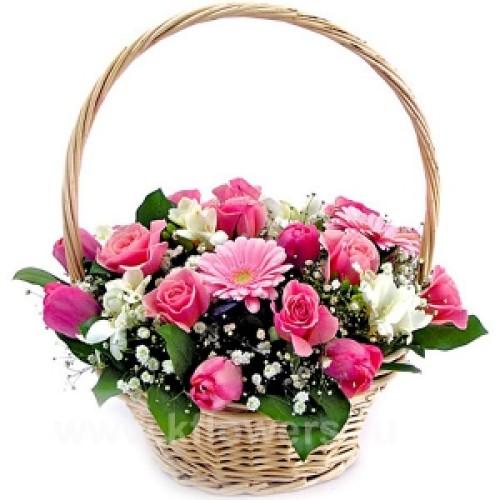 Купить на заказ Корзина с цветами 6 с доставкой в Нур-Султане