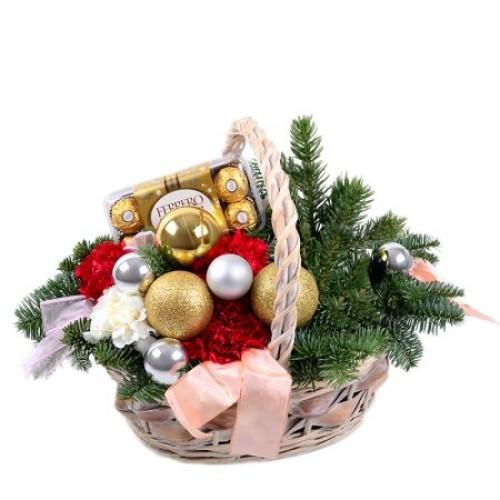 Купить на заказ Корзинка «Новогоднее настроение» с доставкой в Нур-Султане