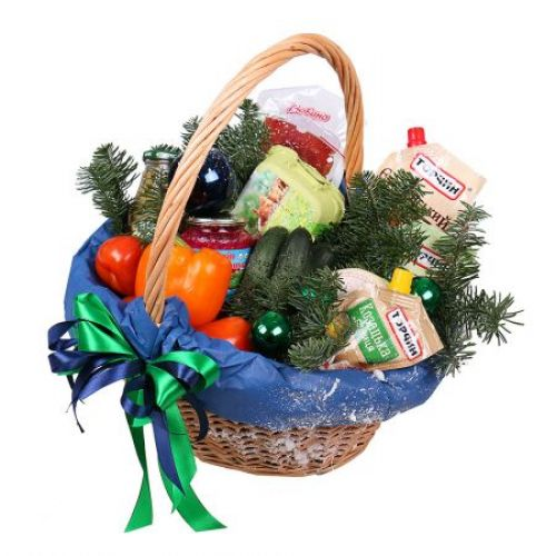 Купить на заказ Новогодняя корзина «Продуктовая» с доставкой в Нур-Султане
