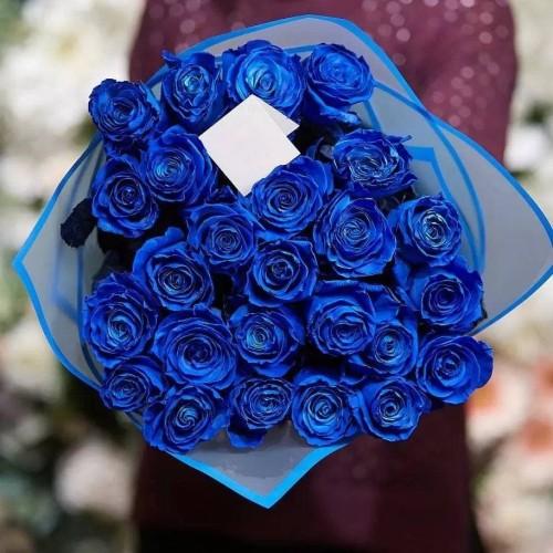 Купить на заказ 25 синих роз с доставкой в Нур-Султане
