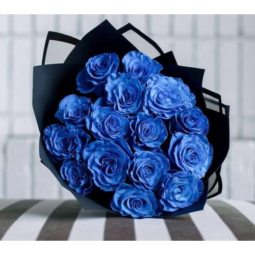 Купить на заказ 15 синих роз с доставкой в Нур-Султане