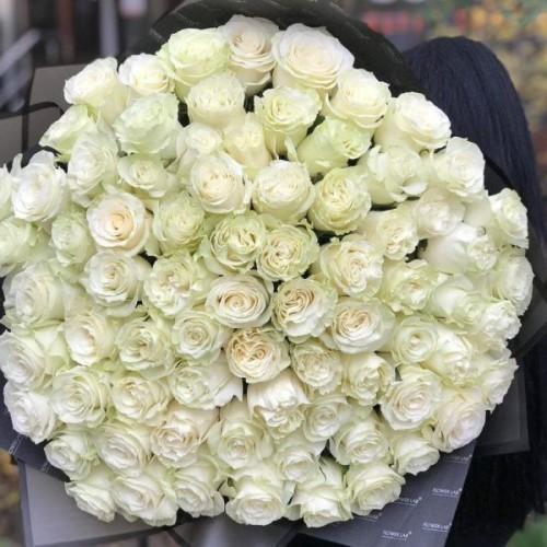 Купить на заказ Букет из 75 белых роз с доставкой в Нур-Султане