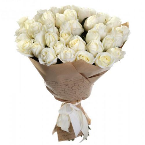 Купить на заказ Букет из 35 белых роз с доставкой в Нур-Султане