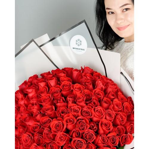 Купить на заказ Букет из 101 красной розы с доставкой в Нур-Султане
