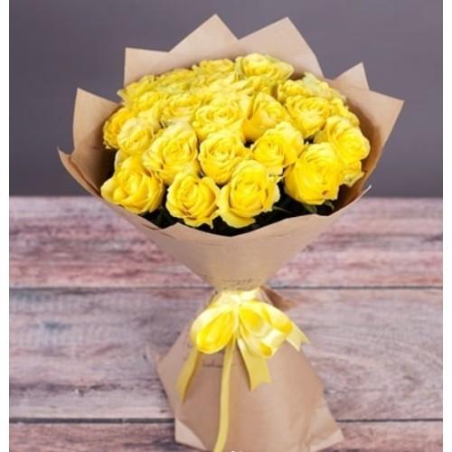 Купить на заказ Букет из желтых роз с доставкой в Нур-Султане