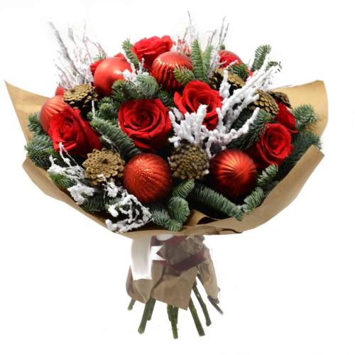 Купить на заказ Букет «Новогоднее чудо» с доставкой в Нур-Султане