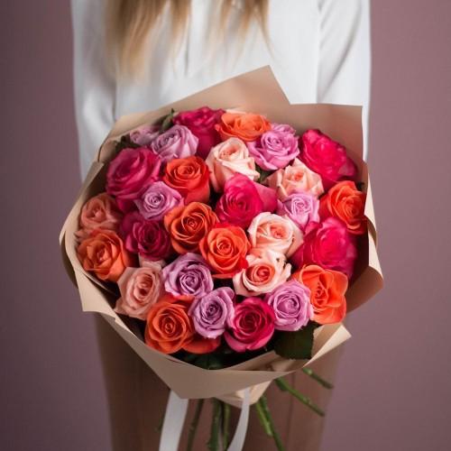 Купить на заказ Букет из 25 роз (микс) с доставкой в Нур-Султане