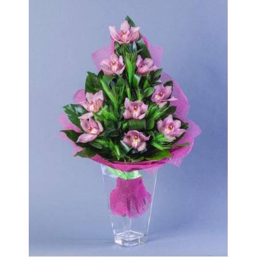 Купить на заказ Букет из 9 Орхидей с доставкой в Нур-Султане