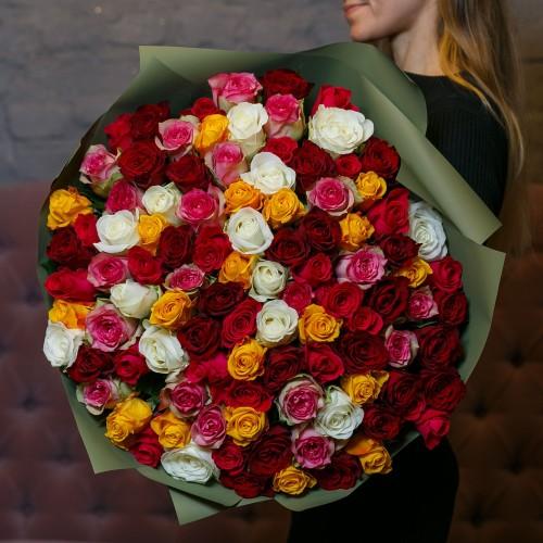 Купить на заказ Букет из 101 розы (микс) с доставкой в Нур-Султане
